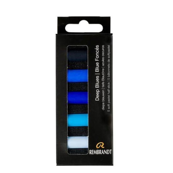 Rembrandt Soft Pastels Half Stick Set of 5 - Deep Blues