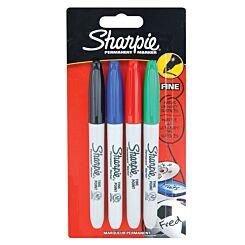 Sharpie Marker Pens Permanent Fine Point Pack of 4 - Standard Colours