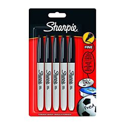 Sharpie Fine Black Permanent Marker Pen Pack of 5 Blister | London Graphic Centre