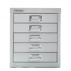 Bisley 5 Drawer Silver Cabinet Front   London Graphic Centre