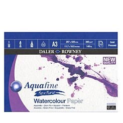 Daler-Rowney Aquafine Texture Watercolour Paper Pad Cold Pressed 300gsm 12 Sheets A3