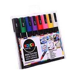 Uni Posca Paint Pen PC-5M Pack of 8 Assorted Colours