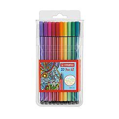 Stabilo Pen 68 Fibre Tip Wallet of 20 assorted colours