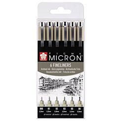 Pigma Micron Archival Drawing Pens Pack of 6 | London Graphic Centre