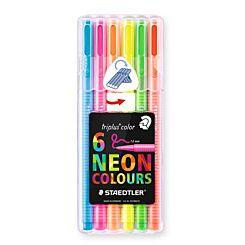Staedtler Desktop Box of 6 Neon Triplus Colour Fibre Tip Pens