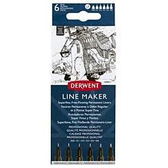 Derwent 6 Line Makers Black Front   London Graphic Centre