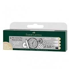 Faber-Castell PITT Drawing Pen Black White 4 Pack Front | London Graphic Centre