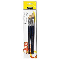 Pebeo Flat White Bristle Paint Brush Set of 3 Pack Shot | London Graphic Centre