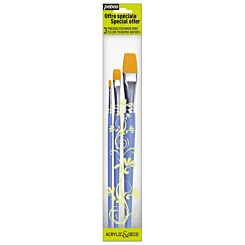 Pebeo Golden Polyamide Flat Paint Brush Pack of 3 Front | London Graphic Centre