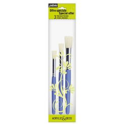 Pebeo Stencil Paint Brush Pack of 3 Front | London Graphic Centre