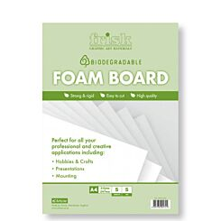 Frisk Bio-degradable White Foamboard A4 5mm Pack of 5 Front | London Graphic Centre