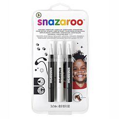 Snazaroo Brush Pen Monochrome Face Paint Set