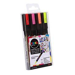 Uni Posca Paint Marker PC-5M Fluorecent Set Pack of 4