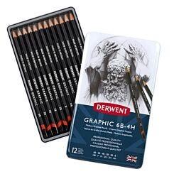 Derwent Graphic Pencils 6B-4H Medium Set of 12 Open