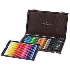 Faber-Castell Polychromos Colour Pencils 48 Wooden Case Open