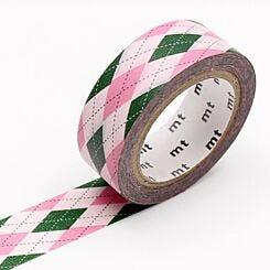 MT Washi Masking Tape Argyle Pink Full Roll