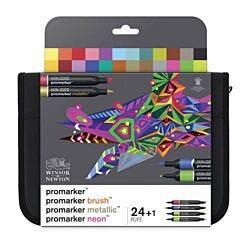 Winsor & Newton Promarker 24 Pen Wallet Mixed Marker Set Front