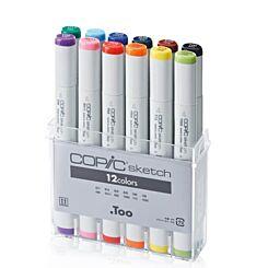 Copic Sketch Marker 12 Colour Set Front   London Graphic Centre